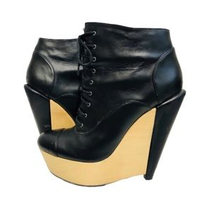 Kelsi Dagger Platform Leather Lace Up Booties 7.5